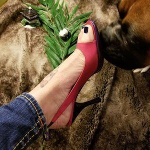 EUC Moschino Pink & Purple Leather Slip Ons Heels